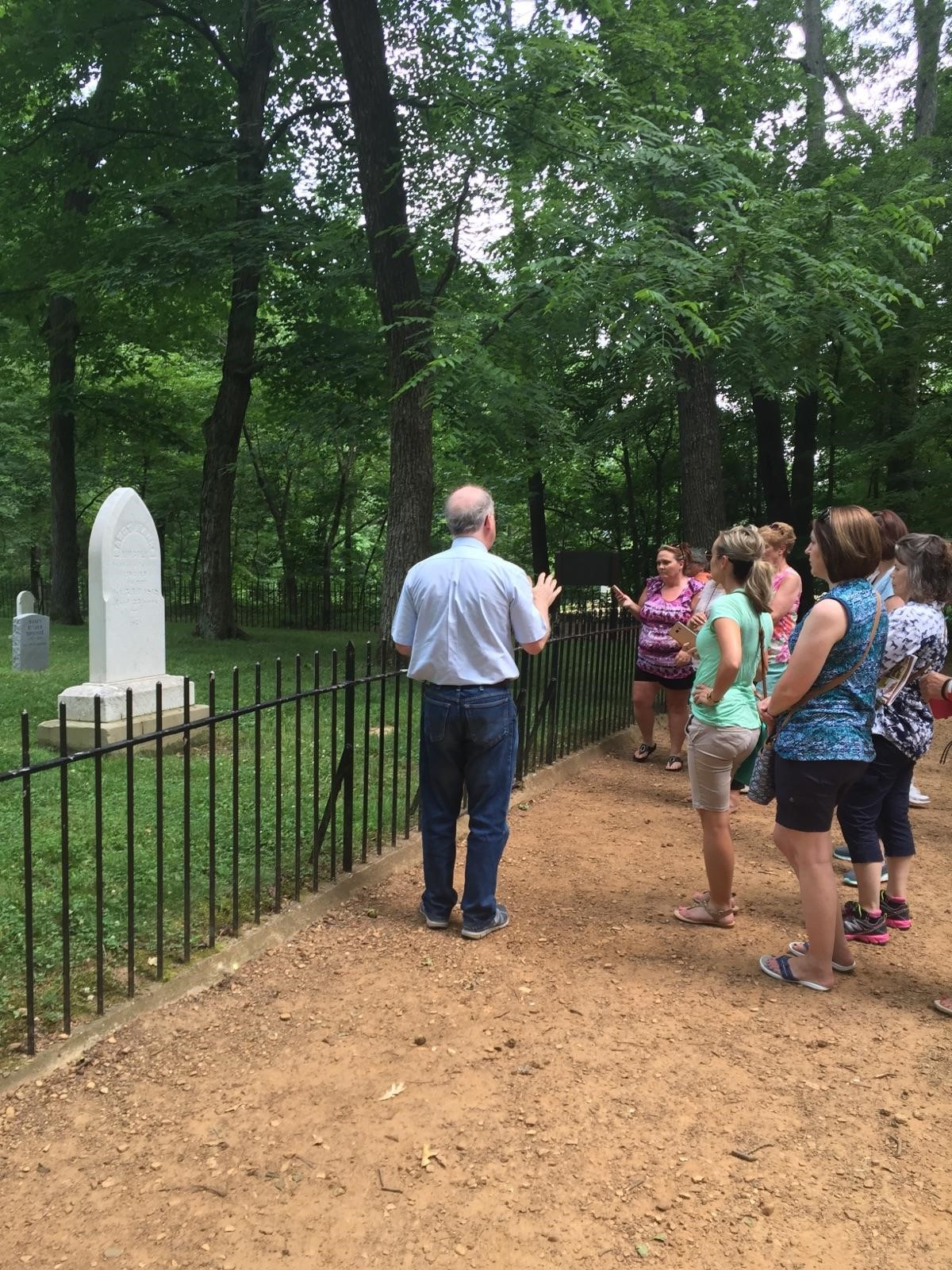 Visiting the grave site of Nancy Hanks Lincoln at Pioneer Cemetery